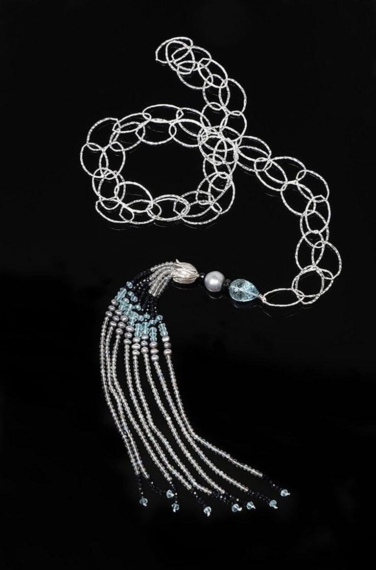 White Orchid Studio Tassel Necklace Silver Sapphire Pearl Labradorite In New Condition For Sale In Athens, GA