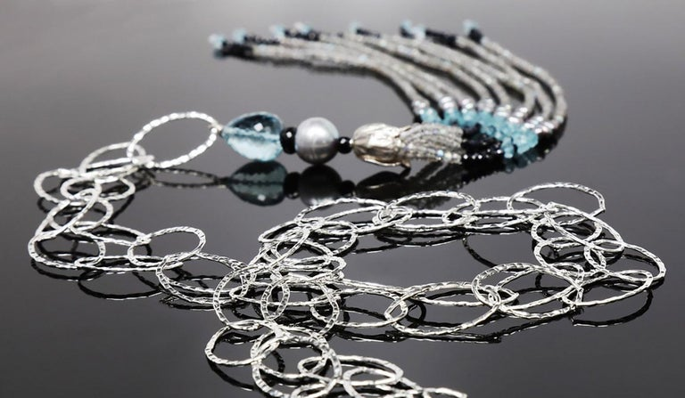 Women's or Men's White Orchid Studio Tassel Necklace Silver Sapphire Pearl Labradorite For Sale