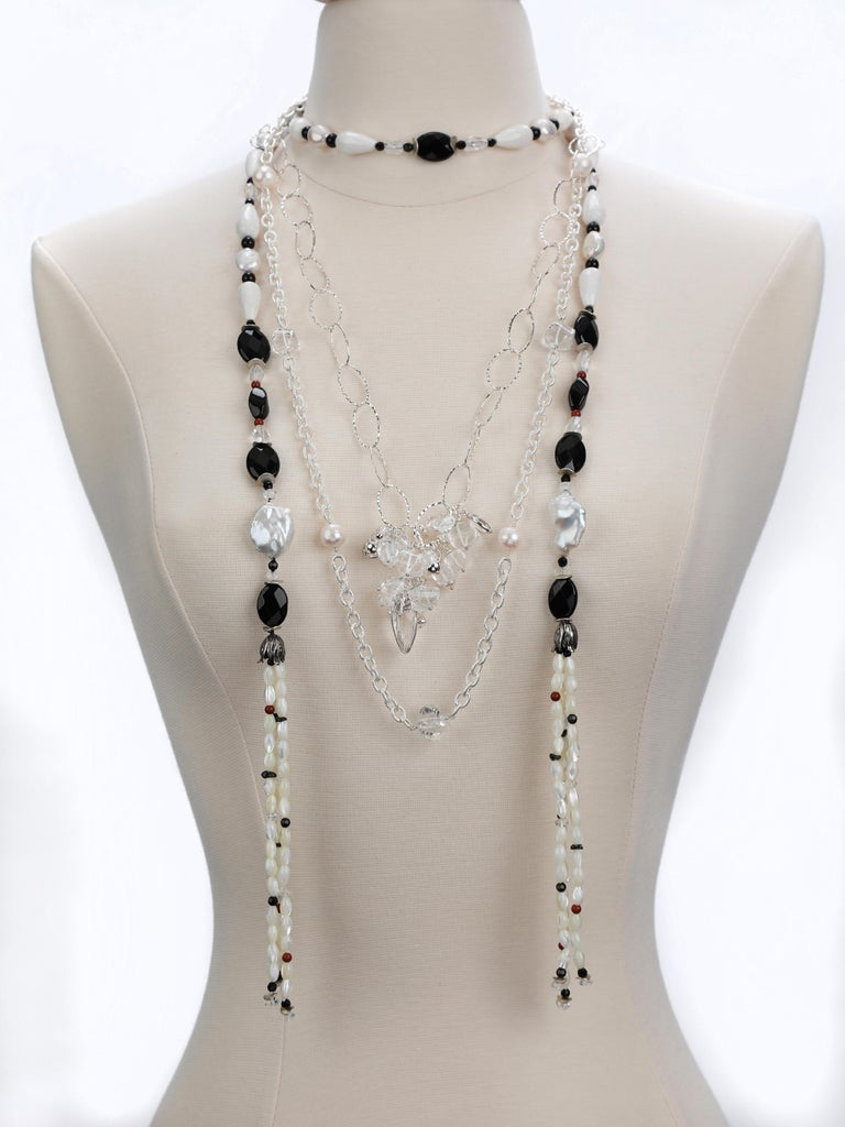 Women's France Beckons: Sautoir Necklace with Tassels-Pearls Onyx Quartz Agate Silver For Sale