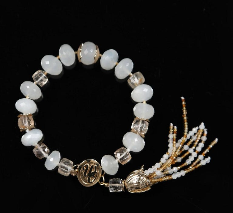 Contemporary White Orchid Studio Tassel Bracelet Precious Topaz Moonstone Gold For Sale