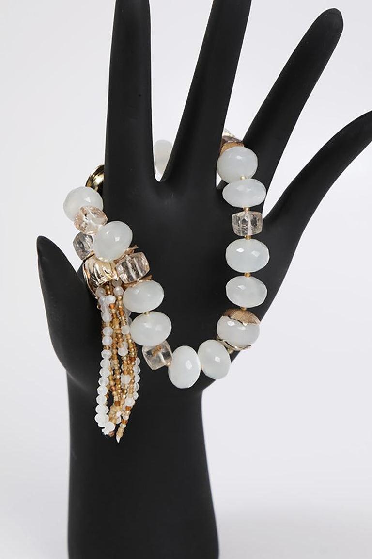 White Orchid Studio Tassel Bracelet Precious Topaz Moonstone Gold For Sale 5