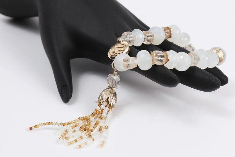 Women's White Orchid Studio Tassel Bracelet Precious Topaz Moonstone Gold For Sale