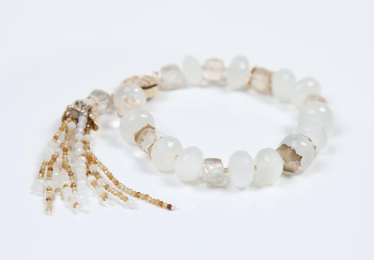 White Orchid Studio Tassel Bracelet Precious Topaz Moonstone Gold In New Condition For Sale In Athens, GA