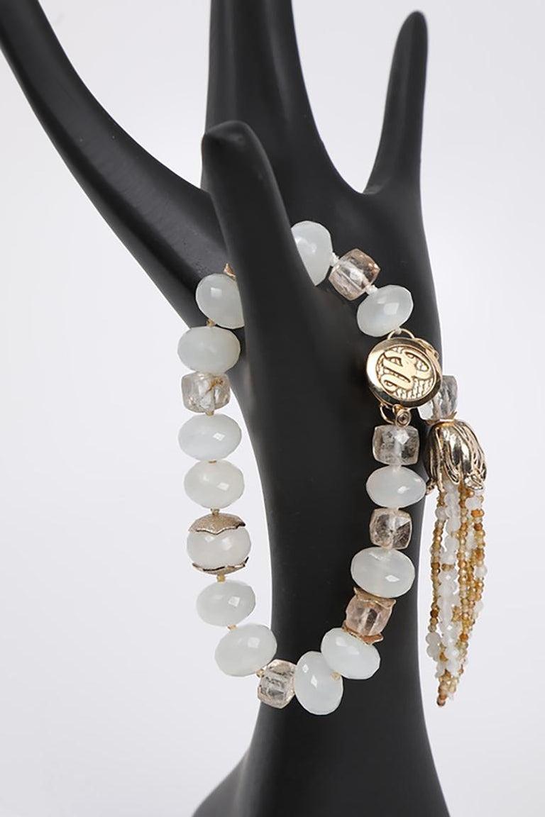 White Orchid Studio Tassel Bracelet Precious Topaz Moonstone Gold For Sale 1