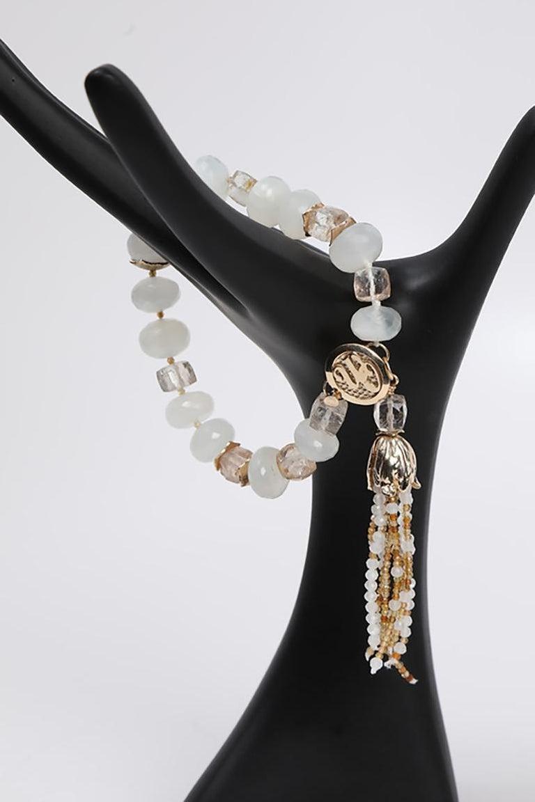White Orchid Studio Tassel Bracelet Precious Topaz Moonstone Gold For Sale 3