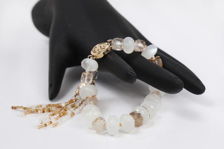 White Orchid Studio Tassel Bracelet Precious Topaz Moonstone Gold For Sale 2