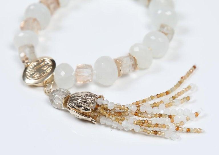 White Orchid Studio Tassel Bracelet Precious Topaz Moonstone Gold For Sale 4
