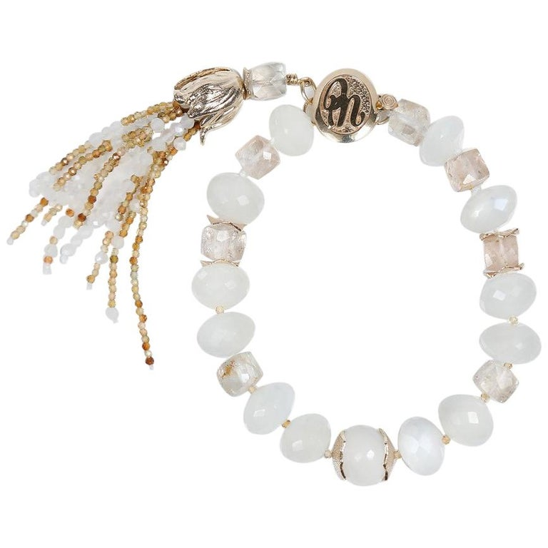 White Orchid Studio Tassel Bracelet Precious Topaz Moonstone Gold For Sale
