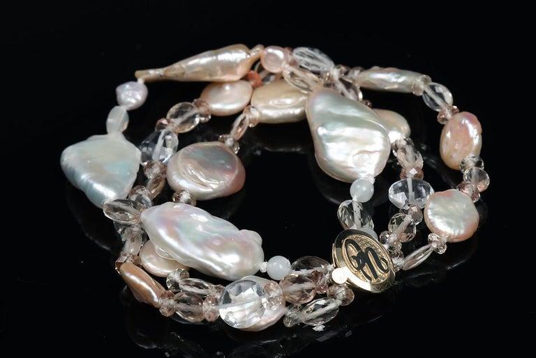 Contemporary White Orchid Studio Three Strand Pearl Bracelet Oregon Sunstone Quartz Gold For Sale
