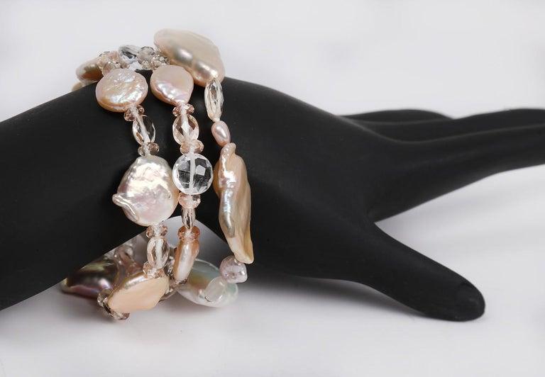 White Orchid Studio Three Strand Pearl Bracelet Oregon Sunstone Quartz Gold In New Condition For Sale In Athens, GA