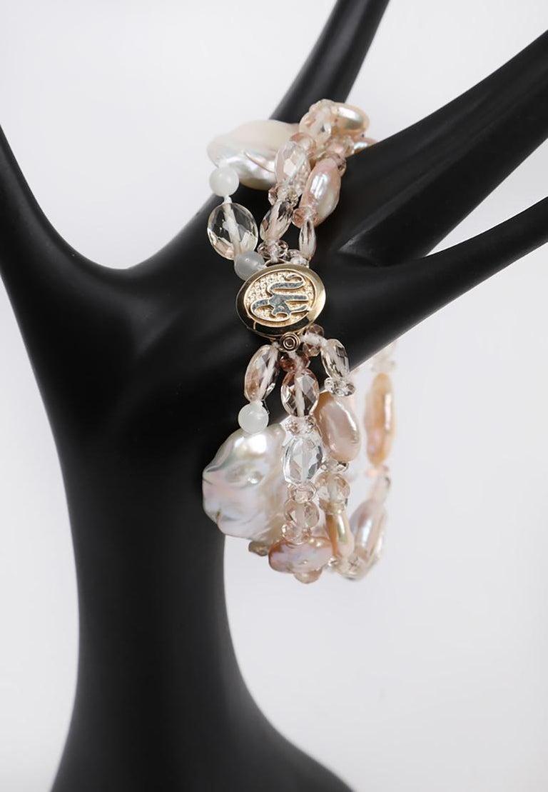Women's White Orchid Studio Three Strand Pearl Bracelet Oregon Sunstone Quartz Gold For Sale