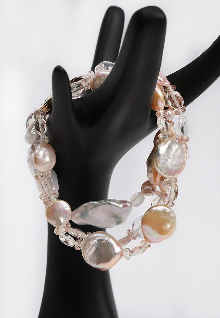 White Orchid Studio Three Strand Pearl Bracelet Oregon Sunstone Quartz Gold For Sale 1