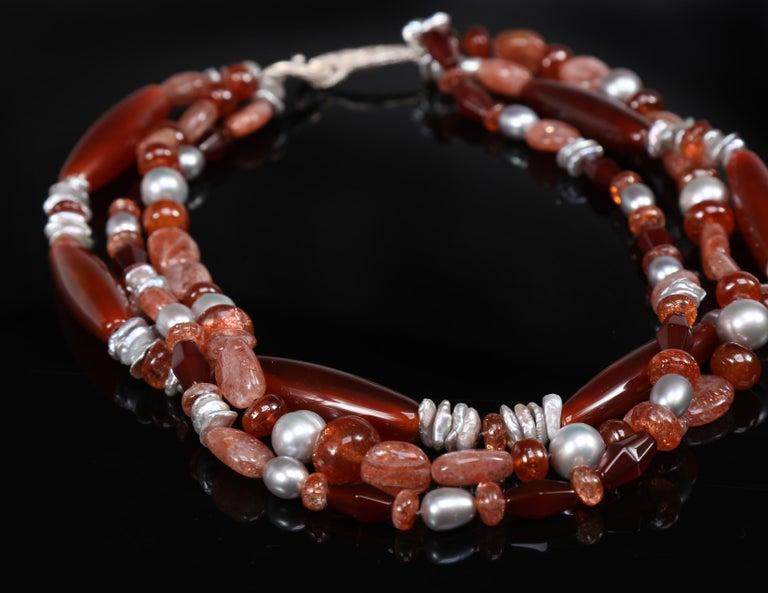 Contemporary Multi-Strand Necklace Carnelian Sunstone Pearl Silver For Sale