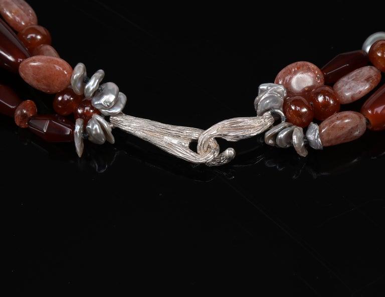 Multi-Strand Necklace Carnelian Sunstone Pearl Silver In New Condition For Sale In Athens, GA