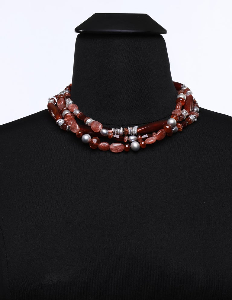 Multi-Strand Necklace Carnelian Sunstone Pearl Silver For Sale 1