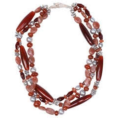 Multi-Strand Necklace Carnelian Sunstone Pearl Silver