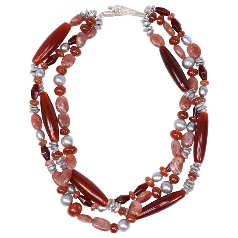 Multi-Strand Necklace Carnelian Sunstone Pearl Silver For Sale