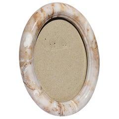 White Oval Stone Photo Frame