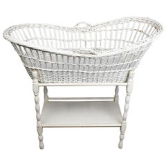 White Oval Tall Wicker and Rattan Baby Bassinet or Crib, 20th Century