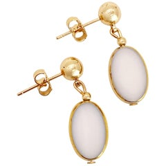 White Oval Vintage German Glass Beads edged with 24K gold Earrings