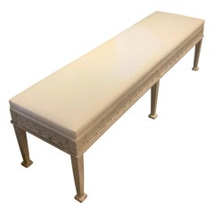 White Painted and Upholstered Gustavian Style Bench, England, Contemporary