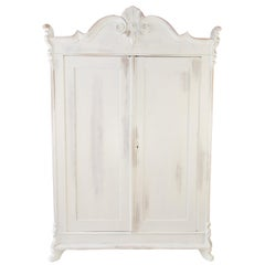 Baltic Pine White Painted Two-Door Armoire with Carved Crown, 1920's