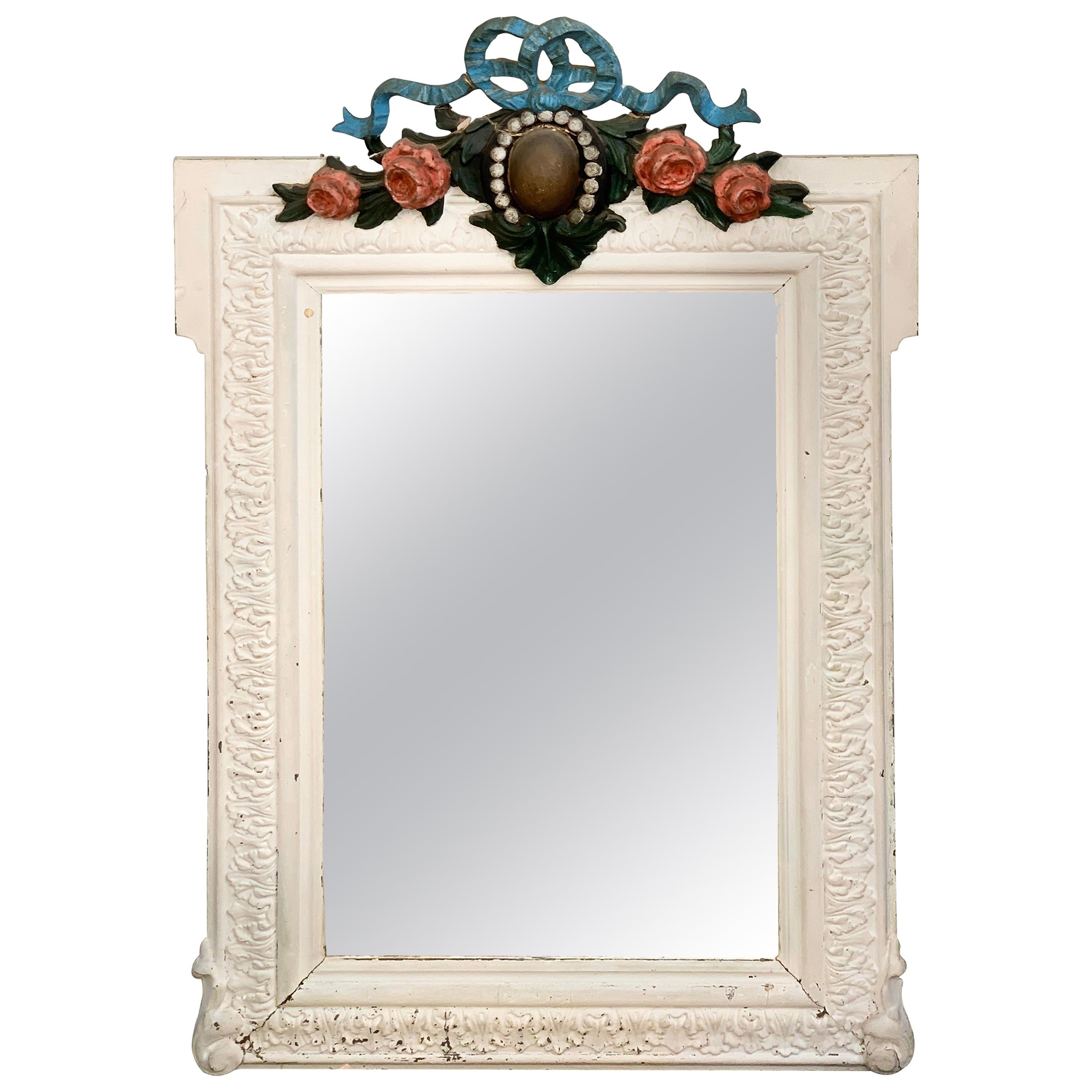 White Painted Carved Wood French Authentic Mirror with Decorations