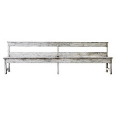 White Painted European Country Bench