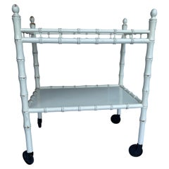 White Painted Faux Bamboo Dry Bar or Cart, Mid-Century Modern