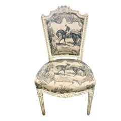 White Painted French Side Chair, Equestrian Toile, 19th Century