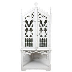 White Painted Gothic Revival Style Cabinet