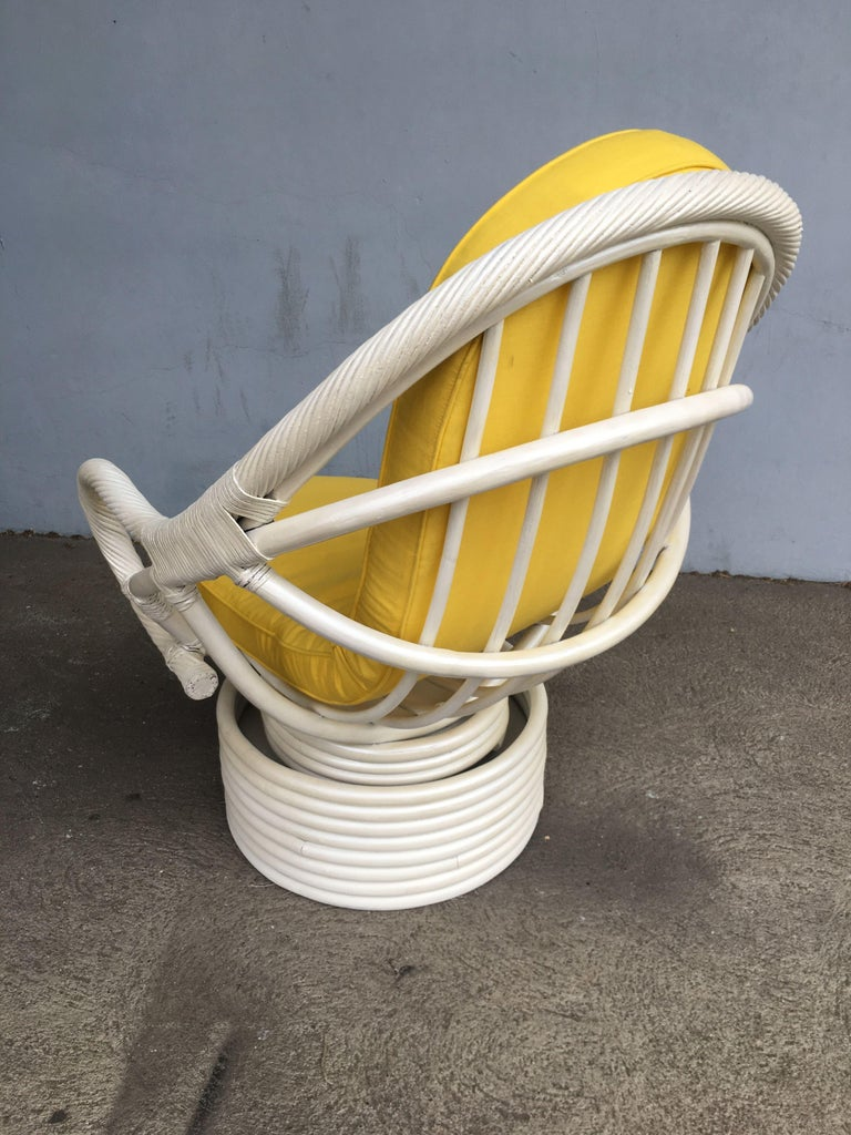American White Painted Rattan Bucket Lounge Chair with Swivel Base For Sale