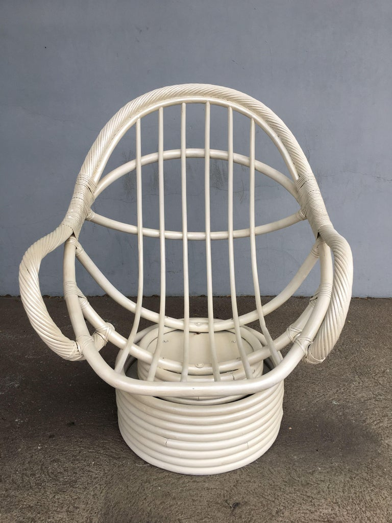 White Painted Rattan Bucket Lounge Chair with Swivel Base For Sale 1