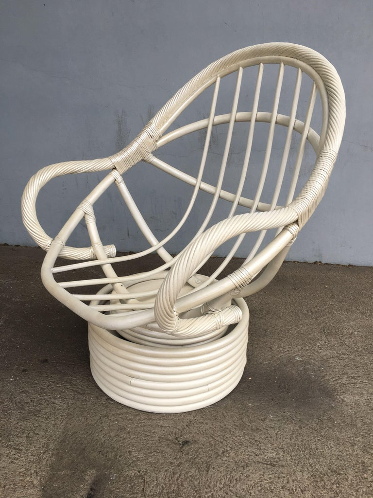 White Painted Rattan Bucket Lounge Chair with Swivel Base For Sale 2