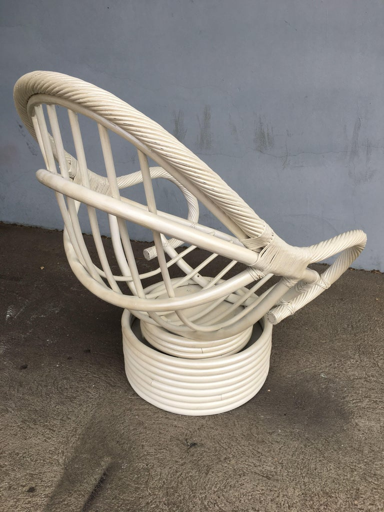 White Painted Rattan Bucket Lounge Chair with Swivel Base For Sale 3