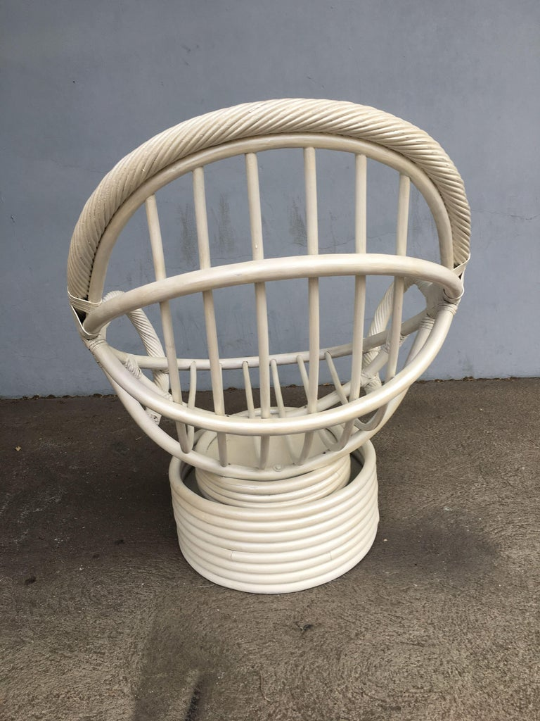 White Painted Rattan Bucket Lounge Chair with Swivel Base For Sale 4