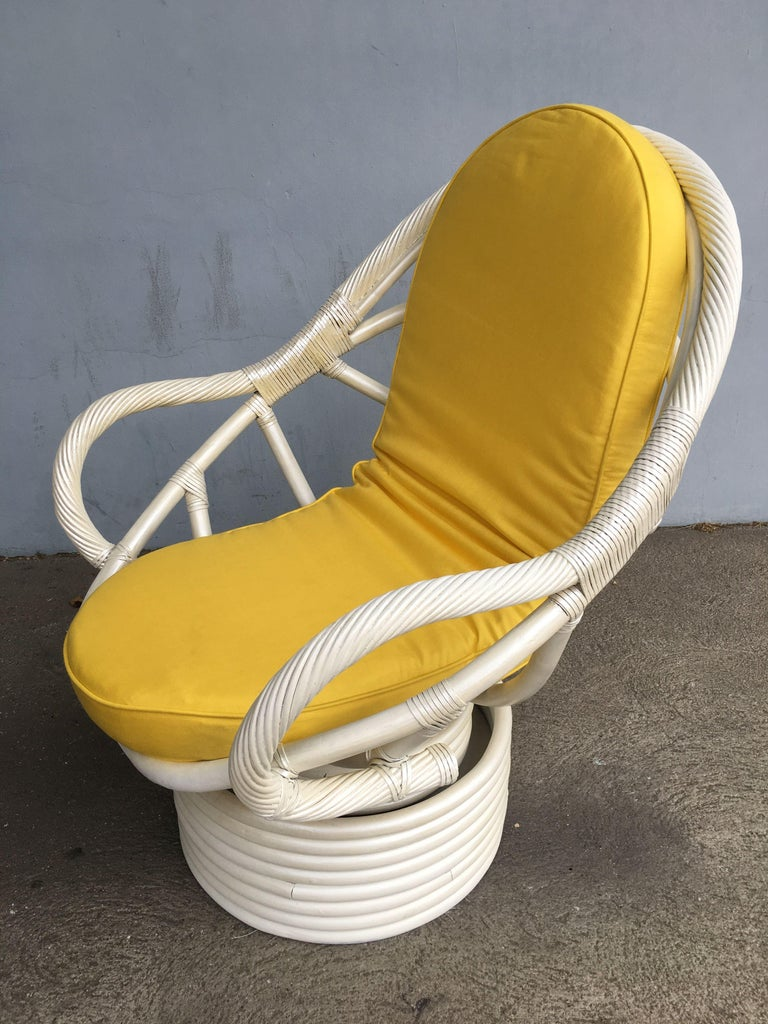 White Painted Rattan Bucket Lounge Chair with Swivel Base For Sale 5