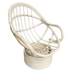 White Painted Rattan Bucket Lounge Chair with Swivel Base