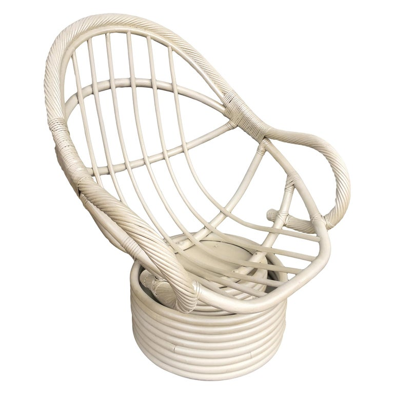 White Painted Rattan Bucket Lounge Chair with Swivel Base For Sale