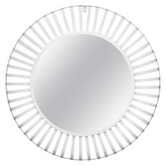 White Painted Round Industrial Mirror