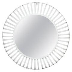 White Painted Round Industrial Mirror