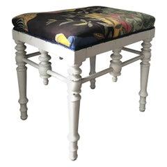 White Painted Stool, Josef Frank Upholstery