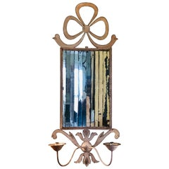 White Painted Tole and Mirrored Two-Light Sconce