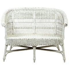 White Painted Wicker Settee