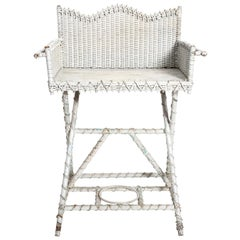 White Painted Wicker Washstand