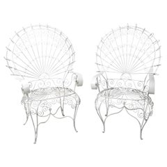 White Painted Wire Peacock Style Garden Armchairs