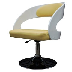 White-Painted Wooden Salon Chairs with Yellow Faux Hide Covers, Set of Four