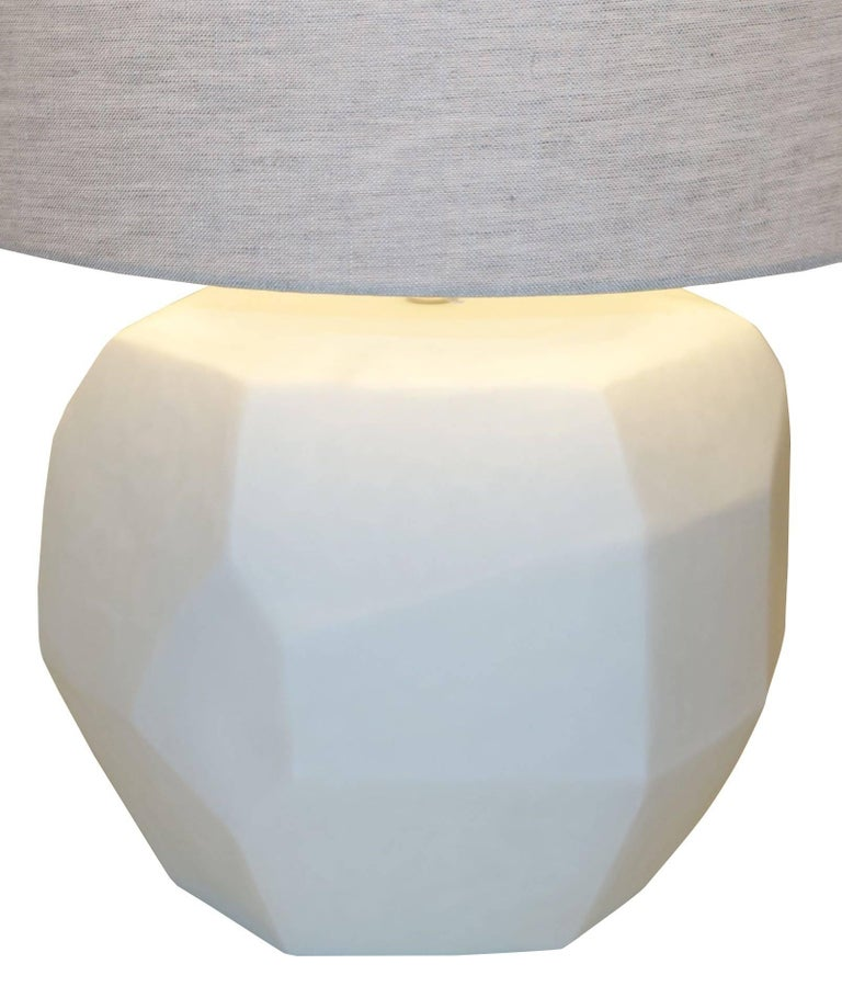 Romanian White Pair of Cubist Lamps, Romania, Contemporary