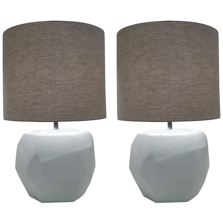 White Pair of Cubist Lamps, Romania, Contemporary