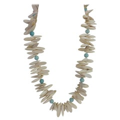White Panto Wood and Amazonite 925 Sterling Silver Necklace